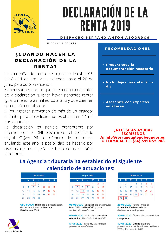 Serrano Antón Abogados . Declaración de la renta 2019
