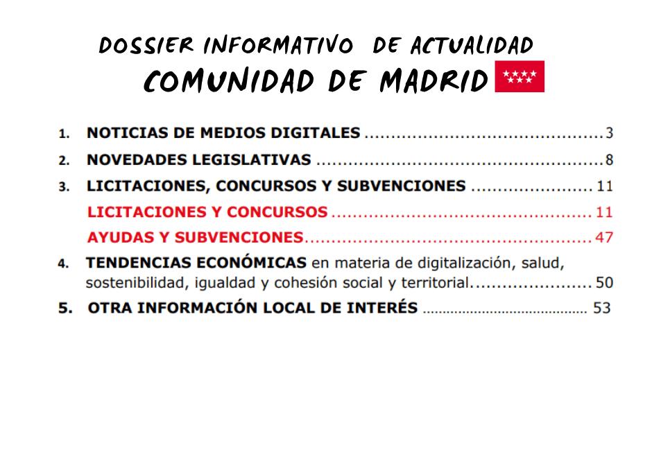 Dossier informativo Comunidad de Madrid
